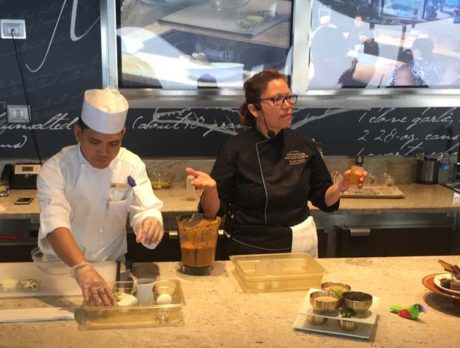 Hands-on cooking classes in a spectacular kitchen at sea
