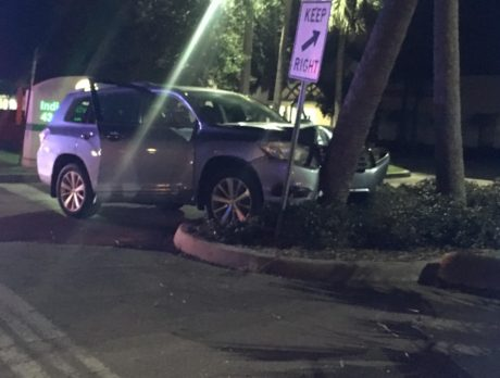 Man hurt after SUV strikes tree