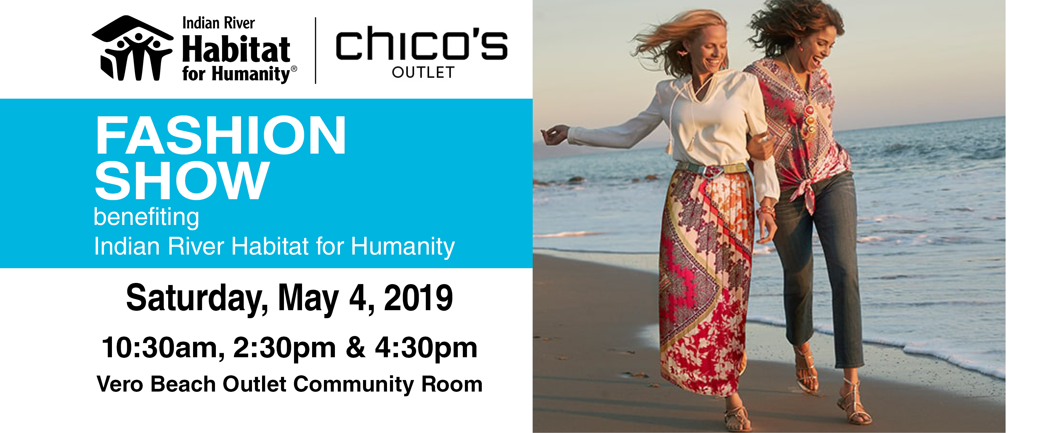 dfe77059 Chico's Outlet will host three fashion shows to benefit Indian River  Habitat for Humanity. The 2:30 pm fashion show will feature our own Habitat  staff or ...