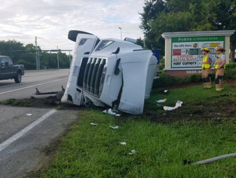 Overturned semi truck near Sebastian causing delays